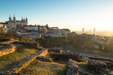 Sunrise over Lyon from Theatre Gallo Romain, the ancient Roman theatre of Fourvier.