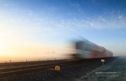 Speeding train in the fog.