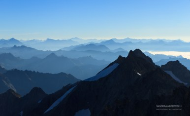 Panorama in the Alps with view on the high peaks of the Ecrins Massif National Park, France.