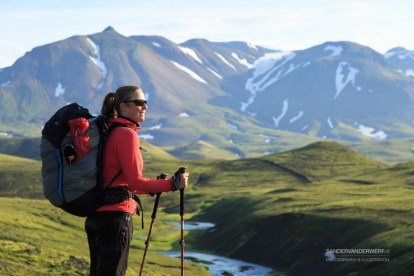 Female hiker enjoying the Laugavegur hiking trail.