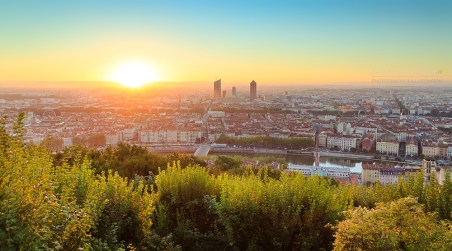 Lyon during a warm, summer sunrise. Seen from Fourviere.