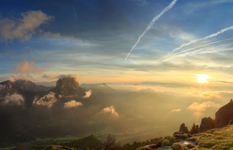 Mont Aiguille in the French Vercors during a tranquil, summer sunrise.