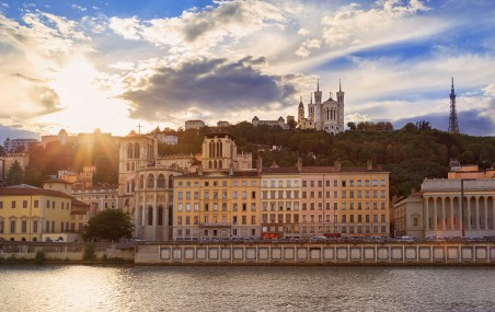 Colorful sunset at Vieux-Lyon and Fourviere Basilica.