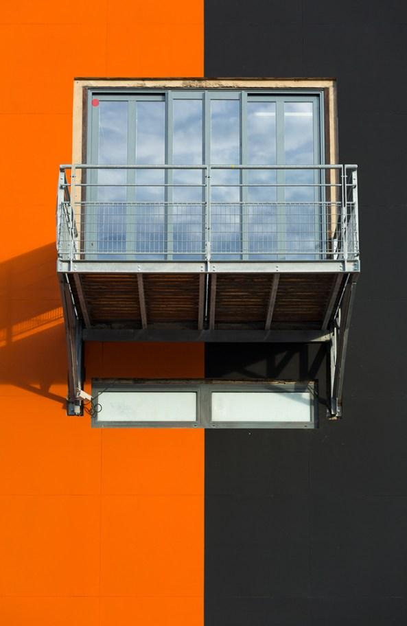 Balcony on the modern facade of le Sucre.