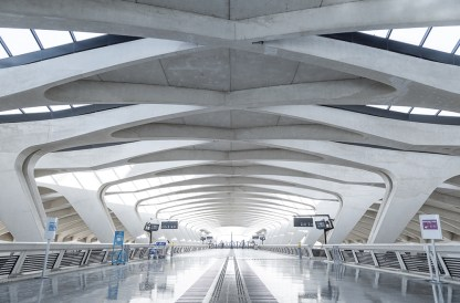 Train terminal (TGV) of Lyon Saint Exupery airport train station.