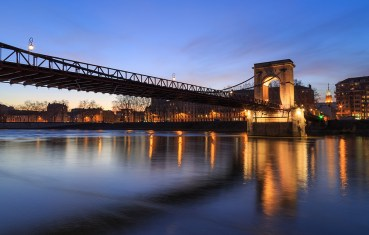 Dusk at Pont Masaryk over the Saone river in Lyon. France.