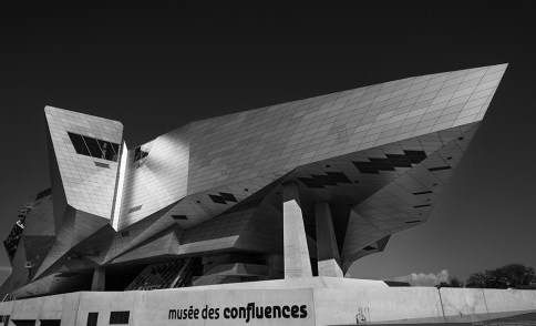 Modern architecture of Musee des Confluences in Lyon, France.
