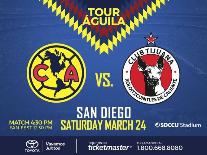 Club América Will Take On Club Tijuana Xolos The