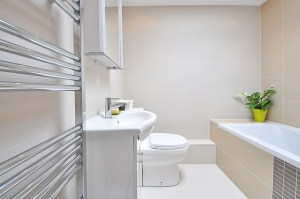 A clean bathroom with a white medicine cabinet and a plant in the corner.
