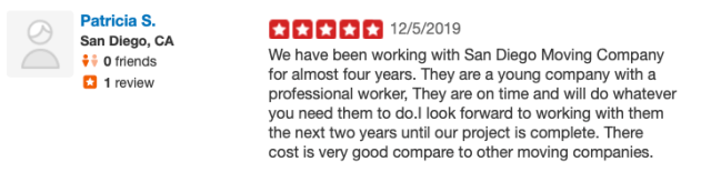 commercial movers reviews san diego