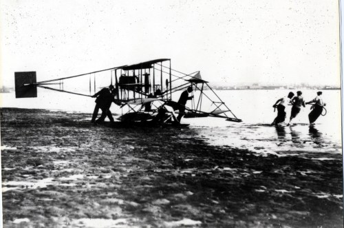 The Curtiss airplane on Spanish Bight at Coronado.