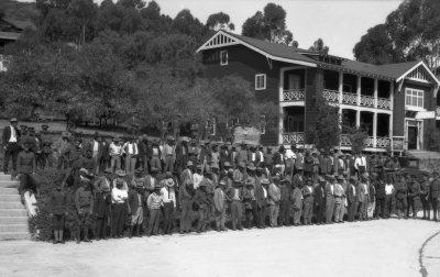 Captured Mexican revolutionaries assembled at Fort Rosecrans.