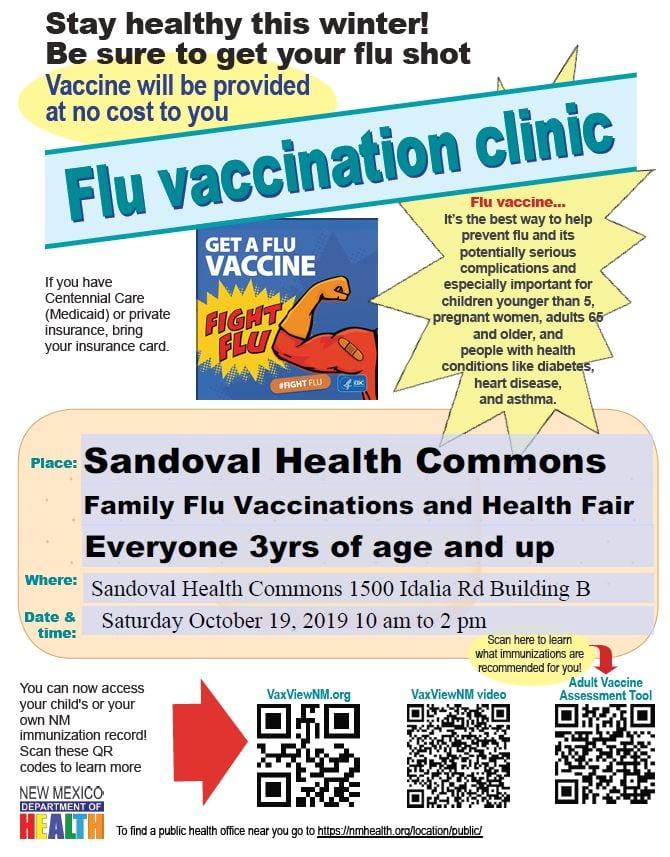 Oct. 19 No Cost Flu Vaccination Clinic & Health Fair - Sandoval County