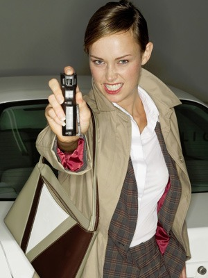Woman Holding Chemcial Spray
