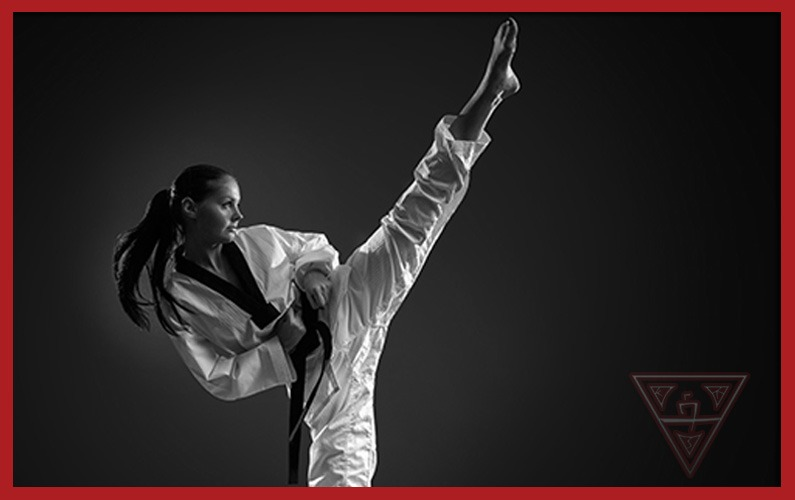 Woman Practicing Freestyle Karate