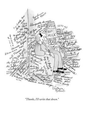 A New Yorker cartoon by Victoria Roberts that's evocative of a writer's state of mind