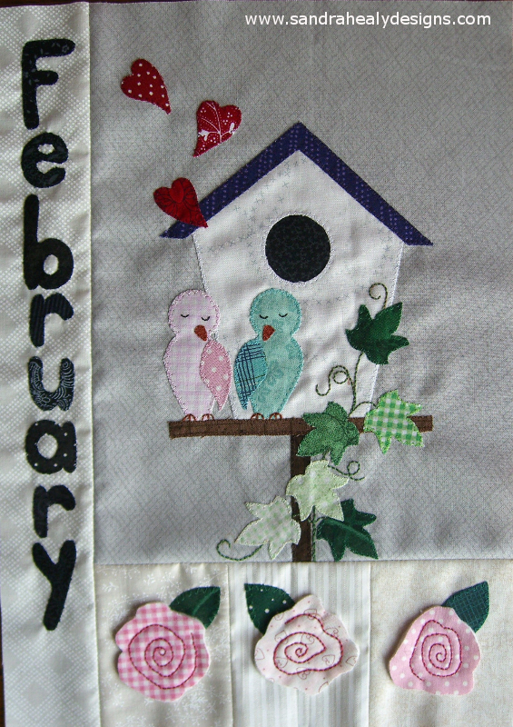 Sandra Healy Designs Calendar Quilt February Block