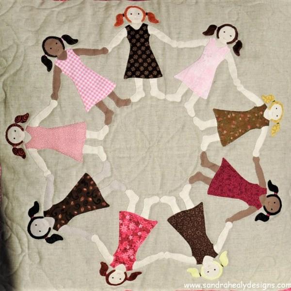 Sandra Healy Designs girls cushion pattern Applique girls