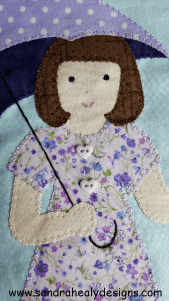 Sandra Healy Designs Calendar Quilt April Block Girl's face