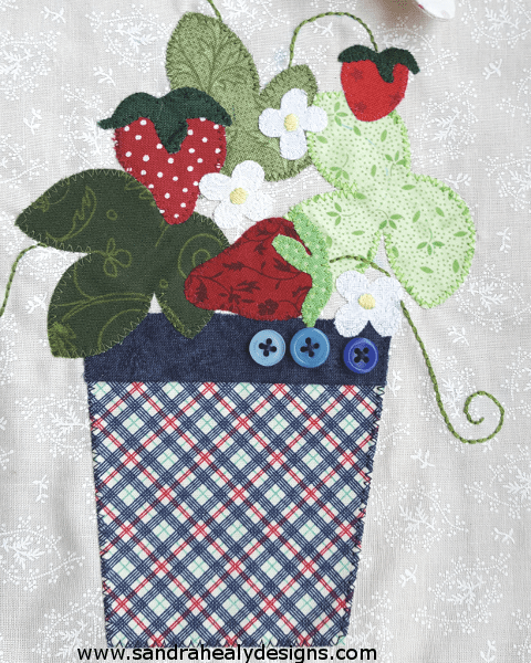 Sandra Healy Designs Calendar Quilt Strawberry Pot