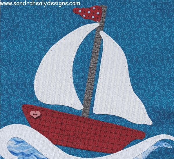 Sandra Healy Designs Calendar Quilt July Block Boat