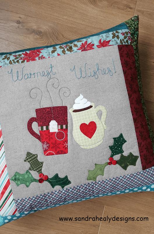 Sandra Healy Designs festive pillow pattern warm wishes