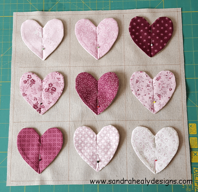Sandra Healy Designs fluttering hearts pillow panel