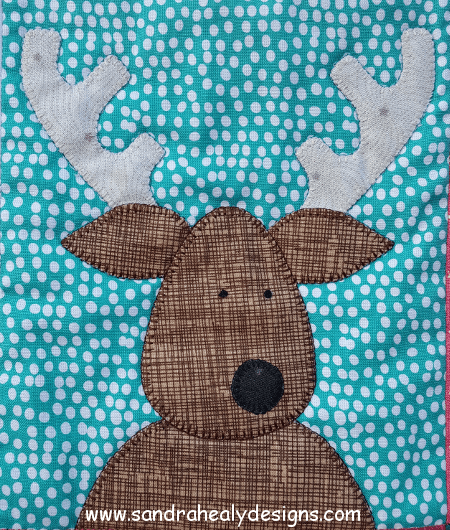 Sandra Healy Designs The Reindeer Crew Christmas quilt pattern reindeer close-up