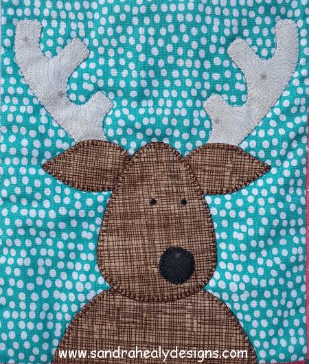 Sandra Healy Designs The Reindeer Crew Christmas quilt pattern reindeer close-up