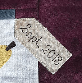 Sandra Healy Designs, Block 10, 'Fall Into a Quiltalong', Label Closeup