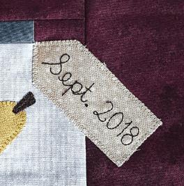 Sandra Healy Designs, Block 10, 'Fall Into a Quiltalong', Label Closeup