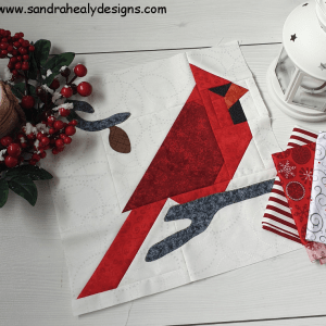 Sandra Healy Designs, red cardinal quilt block