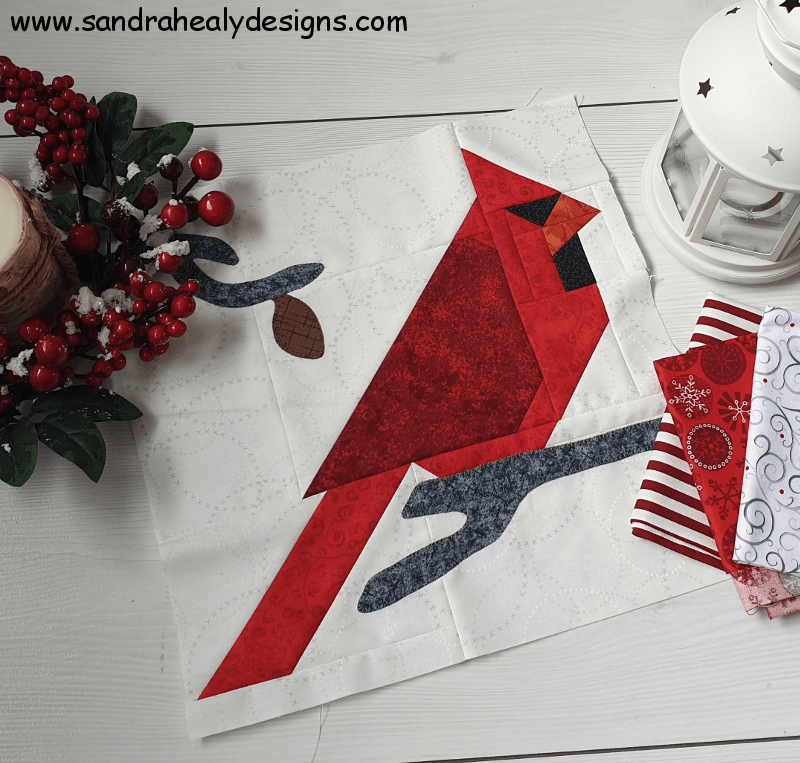 Sandra Healy Designs, red cardinal quilt block