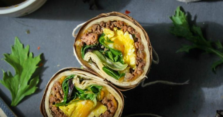 Breakfast Eggs and Beef Wrap