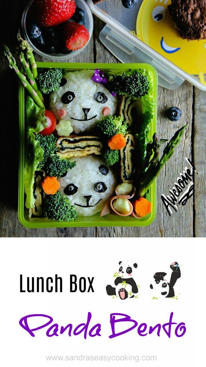 Cute idea for a school lunch box. Panda Bento