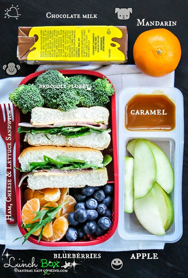 Lunch Box Ham sandwich with Fresh Fruits and Veggies