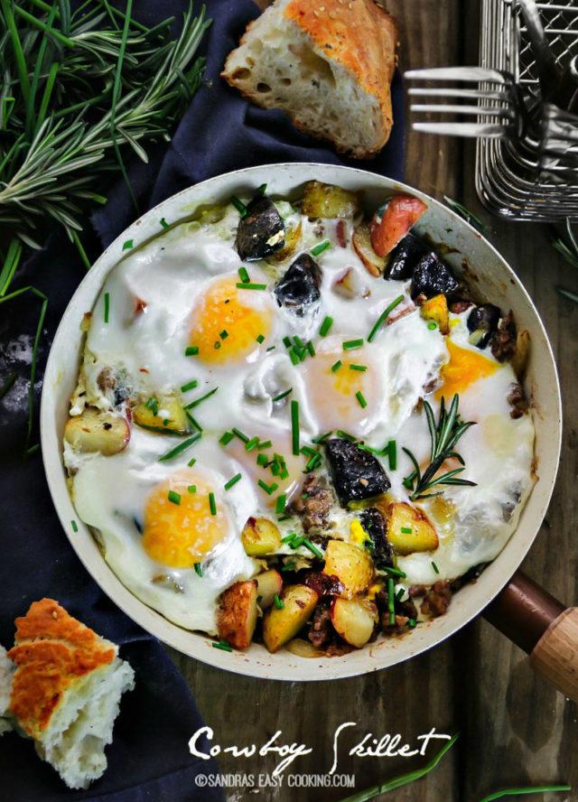 Cowboy Skillet New Potato Medley, Italian Sausage and Eggs