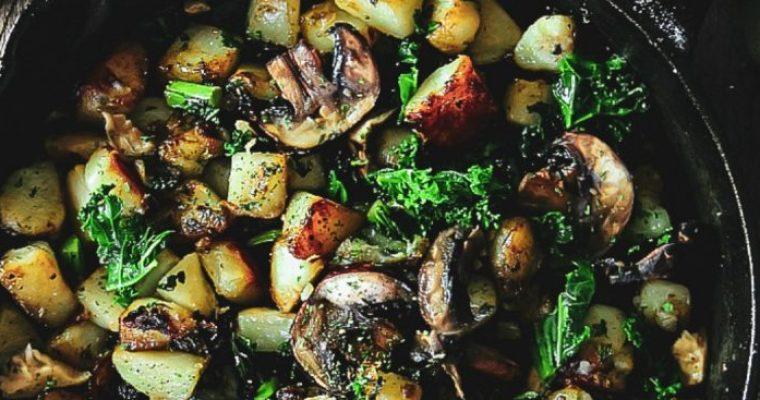 Potatoes, Kale and Mushrooms Skillet