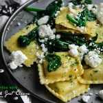 Ravioli sautéed with Spinach and Goat Cheese