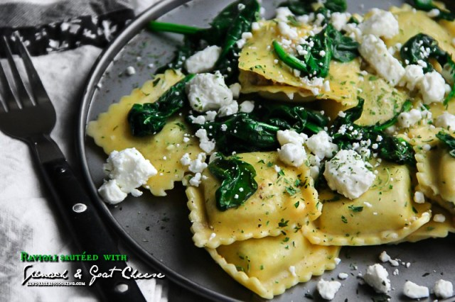 Raviolisautéedwith Spinach and Goat Cheese