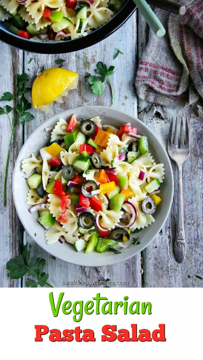 Simple, delicious and easy veggie-packed vegetarian pasta salad is colorful and perfect for upcoming summer days, grilling season and potlucks.