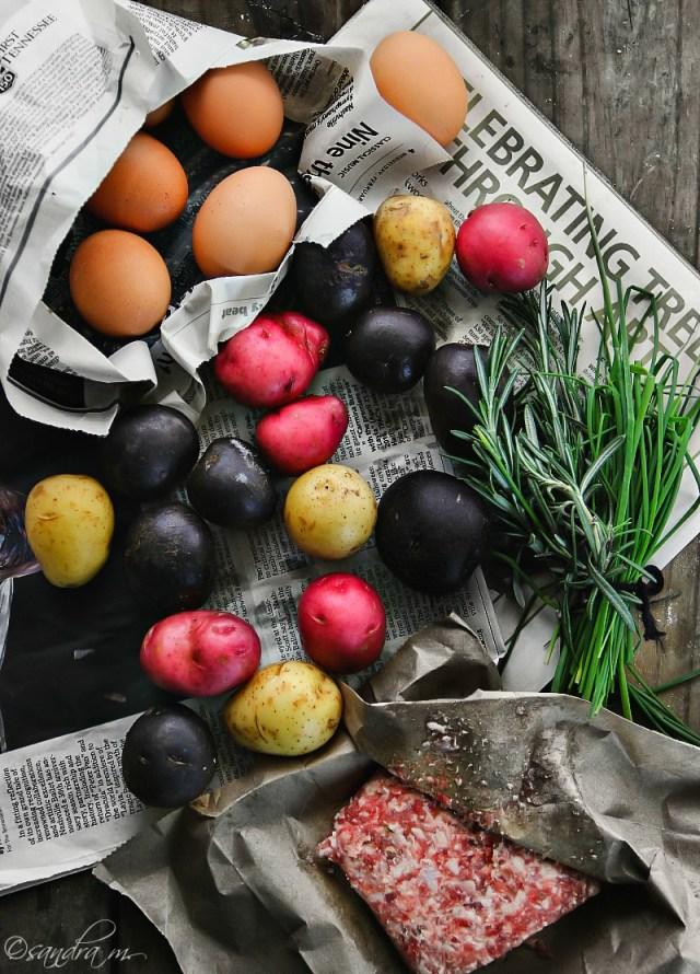 Cowboy Skillet: New Potato Medley, Italian Sausage and Eggs