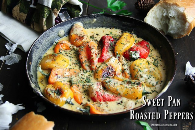 Sweet Pan Roasted Peppers with Garlic Infused Sauce Recipe