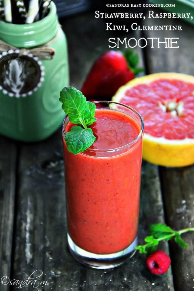 Strawberry, Raspberry, Kiwi, Clementine Smoothie Recipe