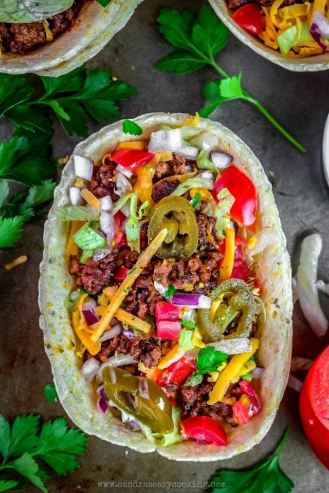 Beef Taco Tortilla Bowls
