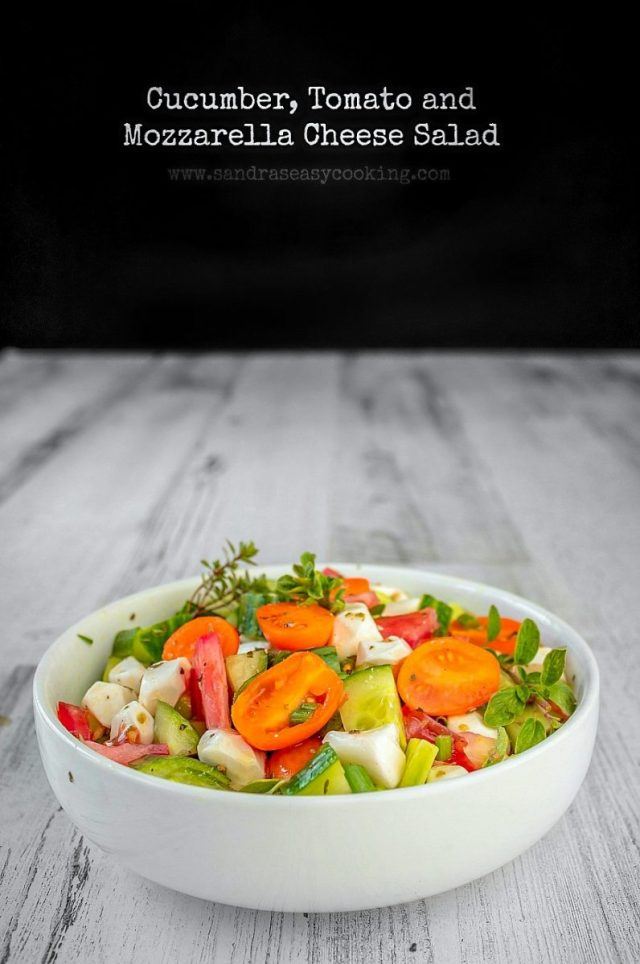 Cucumber, Tomato and Mozzarella Cheese Salad