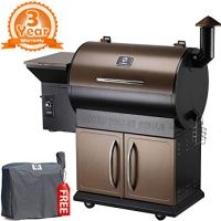 Z GRILLS ZPG-700D 2018 Upgrade Wood Pellet Smoker, 8 in 1 BBQ Auto Temperature Control, 700 sq inch Cooking Area, Bronze and Black