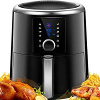 OMORC Air Fryer XL 6QT(w/Cookbook), 15-in-1 1800W Fast w/Wet Finger-Friendly Quick Knob & Touch Screen Deep Fryer Oven Large Oilless Hot Air, 8-15 Presets, Preheat, Nonstick Basket, 2-Year Warranty