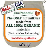 EcoPeaceful Nut Milk Bag - ALL 100% Organic Cotton (Fabric, Stitches & Drawstring) - No Hidden Synthetic Like Other Bags (READ OUR FAKE ORGANIC WARNING). DAIRY-FREE Recipes, Videos & Support