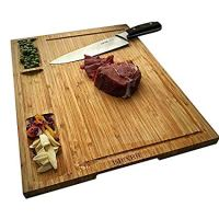 HHXRISE Large Organic Bamboo Cutting Board For Kitchen With Tray, With 3 Built-In Compartments And Juice Grooves, Heavy Duty Chopping Board Serving Tray, Butcher Block, Carving Board, BPA Free …